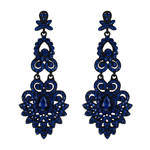 EVER FAITH Mujer Cristal Austríaco Boda Vintage Estilo Floral Hoja Araña Pendientes Colgante Tono Azul Marina
