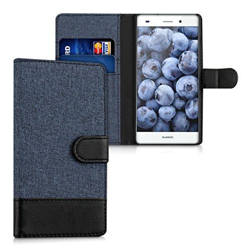 kwmobile Funda para Huawei P8 Lite (2015) - Carcasa de Tela y Cuero sintético - con Tapa y Tarjetero Azul Oscuro/Negro