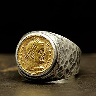 Mens Signet Coin Ring Ancient Roman Art 925 Sterling Silver 24K Gold Vermeil Two Tone Handcrafted Hammered Artisan Signet Greek Coin Ring