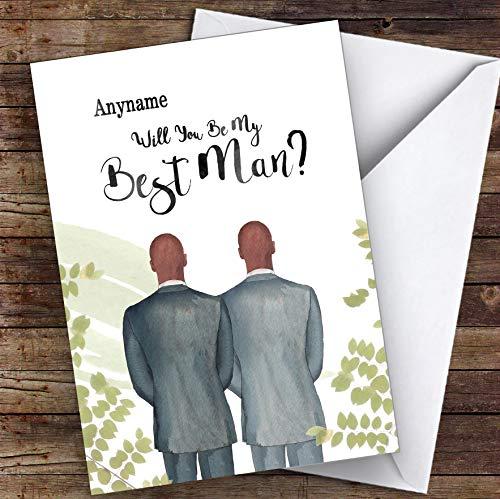 Kale zwarte kaal zwart zal je mijn beste man gepersonaliseerde groeten trouwkaart