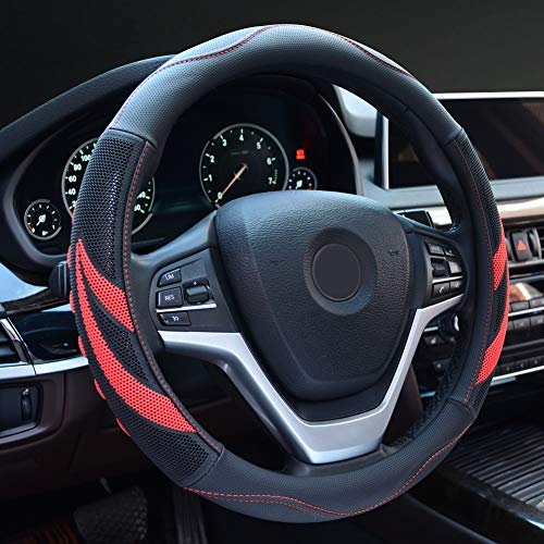 Alusbell Microfiber Leather Steering Wheel Cover Breathable Auto Car Steering Wheel Cover for Men Universal 15 Inches Red