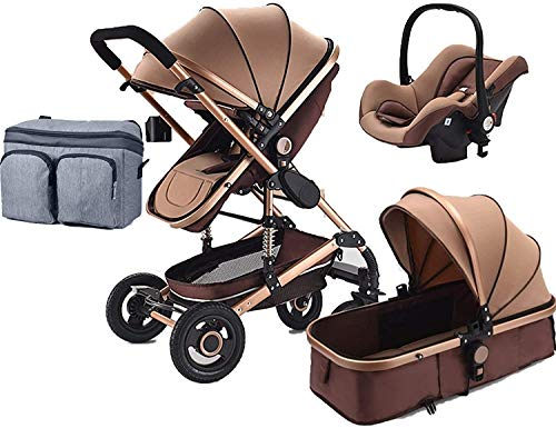 Carro de bebé ajustable plegable, cochecito de bebé con pliegue con una sola mano, reposabrazos extraíbles, silla de cochecito para recién nacido y niño, soporte de taza extra, cubierta de pie, bolsa