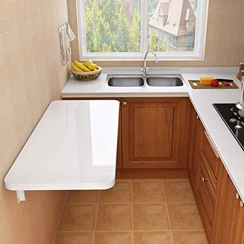 Vicareer Wandklapptisch Weiß Hochleistungs-Klappbarer Schreibtisch, Schwimmender Wandtisch Esstisch Computertisch/Waschküche, Mit Regal,Platzsparend (mehrere Größen)
