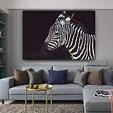 Pintura en lienzo Cebra Imágenes Carteles e impresiones de animales Pintura decorativa moderna Arte de la pared para la decoración de la sala de estar en Pintura y caligrafía de 70x105 cm con marco