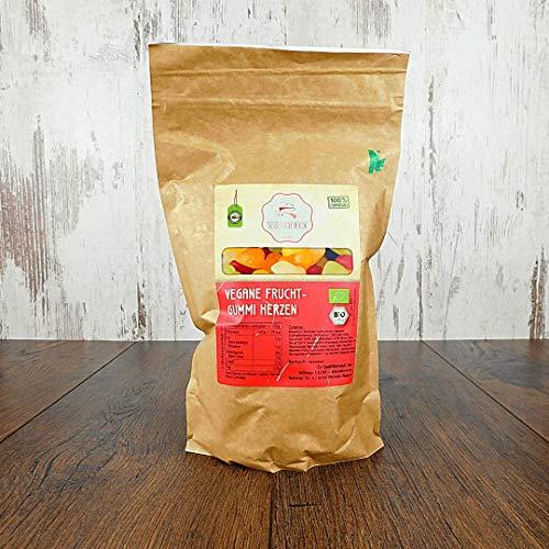 süssundclever.de® Bio Fruchtgummi Herzen | 1 kg | vegan | plastikfrei und ökologisch-nachhaltig abgepackt