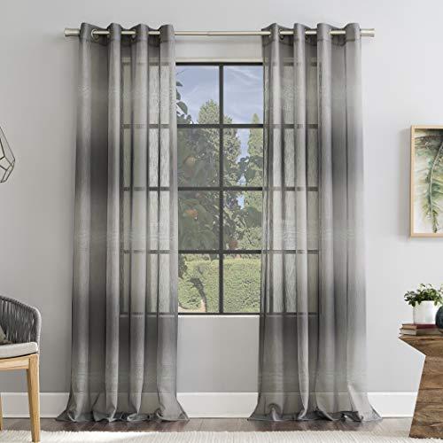 "Scott Living Atlantic Ombre Open Weave Sheer Grommet Curtain Panel, 52"" x 84"", Gray"