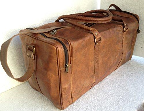 """True Grit Leather- """"Rugged"""" da uomo, in pelle, stile Vintage, colore: Marrone, Borsa da viaggio, Borsa trolley (24 """")"""