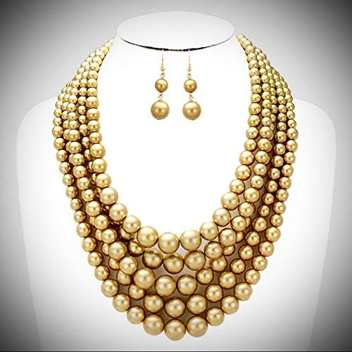 Five Max 75% OFF Layers Gold Tone Faux Pearl Earring Gradual Wo Necklace Max 55% OFF For