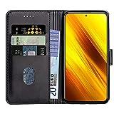 Baiyian Ledertasche Brieftasche Schutzhülle Flip Hülle für Xiaomi Poco X3 NFC, Schwarz