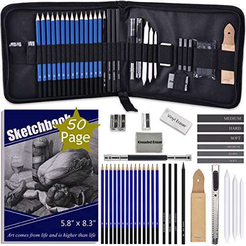 ADAXI Drawing Pencils with Sketch Book 50 Pages, 35 Piece Sketch Pencils Professional Drawing Kit in Zipper Case, Sketching Art Set with Graphite Charcoal Sticks Tool for Adults Kids(All in One Case)