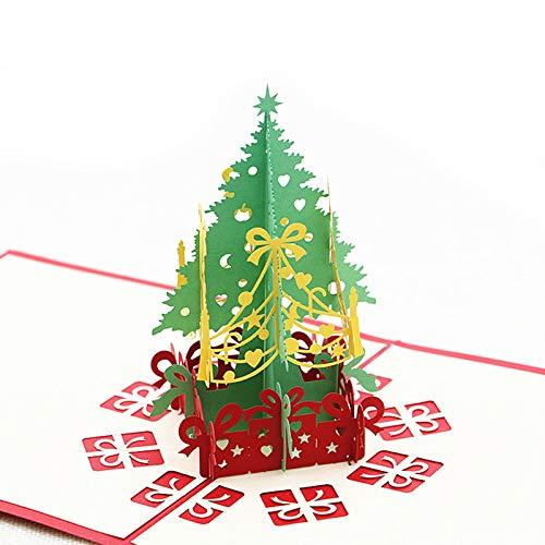 Weihnachts 3D Dreidimensionale Grußkarte Neue Hohle Papierskulptur Postkarte 15 * 15 cm/ 2 Weihnachtsbäume