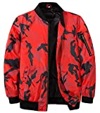 MADHERO Mens Bomber Jacket Quilted Lightweight Winter Outerwear Coat Camo Red XL