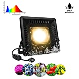 Relassy 50W LED Pflanzenlampe IP67 Wasserdicht COB LED Pflanzenlicht mit Wandhalterung und Schaltersteuerung, Vollspektrum Pflanzenlampe für Indoor- und Outdoor-Pflanzen (Ultradünner Stil)