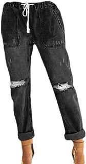 Womens Ripped Denim Joggers Elastic Waistband Drawstring Jeans Pants