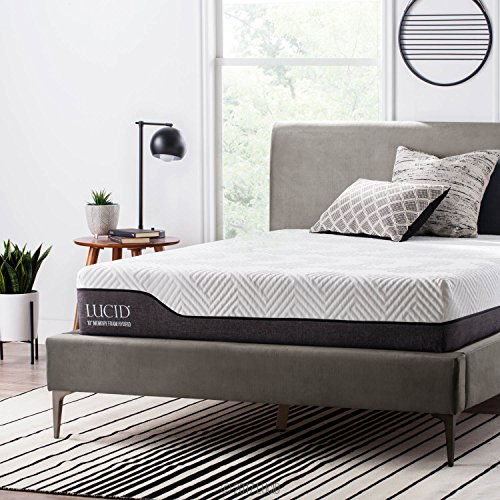LUCID 10 Inch Full Hybrid Mattress - Bamboo Charcoal and Aloe Vera Infused Memory Foam - Moisture Wicking - Odor Reducing - CertiPUR-US Certified
