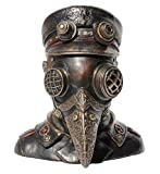 "Steampunk Plague Doctor Bust Trinket Box Sculpture 7"" High"