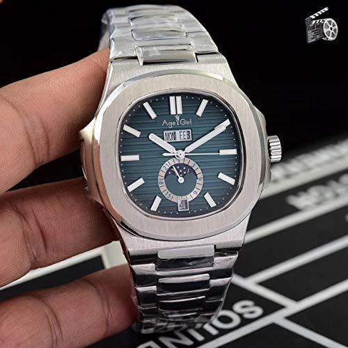 automatische mechanische Herrenuhr Saphir ewiger Kalender transparent Silber Mondphase Uhr schwarz grau blau