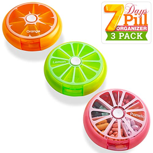 Pill Case Reminder - Colorful Pack of 3 Daily Round Medication Cases for 7 Day Weekly Travel with Rotating Push Button Dispenser Compartments, Best Pill Box Organizer for Pills and Vitamins