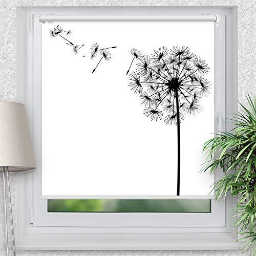 La-Melle » Rollo Motiv Pusteblume | Verschiedene Größen | Klemmrollo ohne Bohren | auch für Wand- oder Deckenbefestigung, Größe: B 120 x H 120 cm