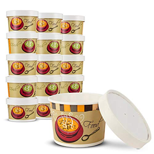 Double Wall Poly Paper Hot Cups for Hot Food and Soup or Cold Ice Cream with Vented Paper Lids to Prevent Leaks by MT Products - (20 Cups and 20 Lids) (8 Ounce)