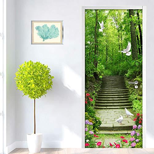 KJKL 3D Green Forest Pigeon Stone Steps Mural PVC Waterproof Kitchen Door Sticker DIY Self-adhesive Vinyl Door Wallpaper Contact Paper 80x200cm