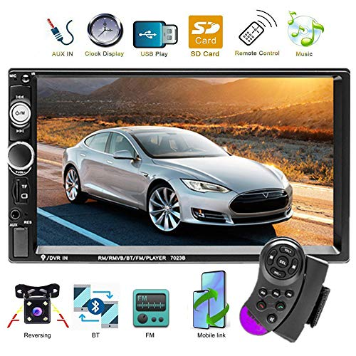 podofo 2 Din Auto Radio Autoradio Bluetooth Player MP5 Touchscreen in Dash Digital Display Bluetooth Multimedia Kfz Radio FM AUX USB SD Funktion mit Lenkradsteuerung