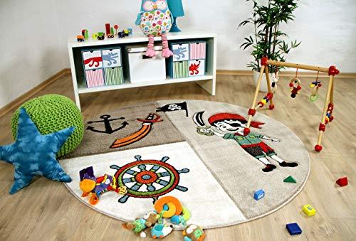 Savona Kinder Teppich Kids Lustiger Pirat Beige Rund in 3 Größen