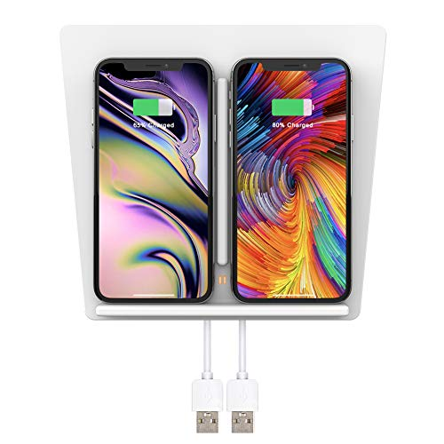 TAPTES Tesla Model 3 Wireless Charger Dual Qi Wireless Cellphone Charging Pad M3 Accessories for Any Qi Enabled Phone, Compatible with Tesla Model 3 - No Software Issue (Gen 1, White)