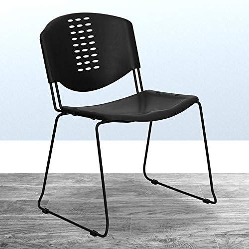 BizChair Japan Maker New 400 Overseas parallel import regular item lb. Capacity Black Plastic Chair Stack Side Office