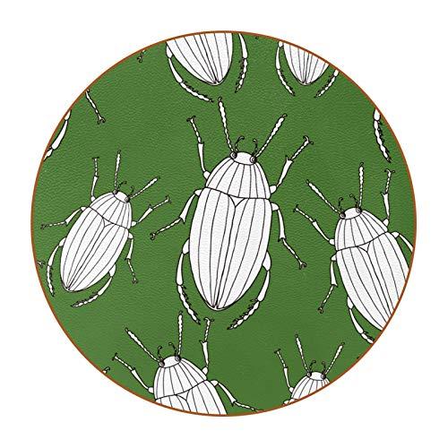 6 posavasos divertidos para bebidas, varios estilos, adecuado para vasos de cerveza, vasos de café, tazas diarias, escarabajos dibujados, verde