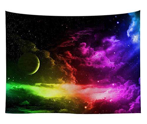 Planeta Luna Tapiz Decoración Colgante de pared Cielo nocturno estrellado Arte Fondo Tela Tapiz Manta Tela colgante A3 150x200cm