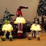 Gnomos Navidad, Elfo Navidad Muñeco Luces, Navidad Decoración Casa Interior, Gnomos Y Duendes Adornos Navidad Luz Miniatur Grinch Nordicos Vintage Ventana Terraza Chimeneas Decorativa (Media Pierna)