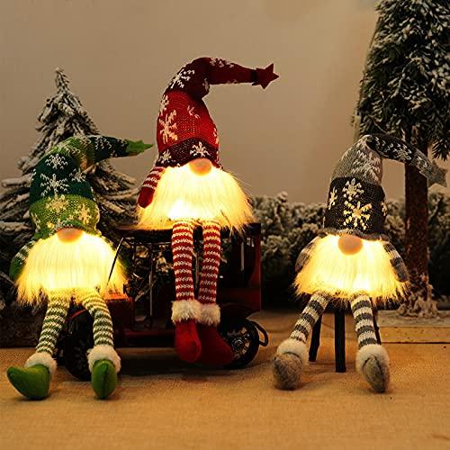 Gnomos Navidad, Elfo Navidad Muñeco Luces, Navidad Decoración Casa Interior, Gnomos Y Duendes Adornos Navidad Luz Miniatur...