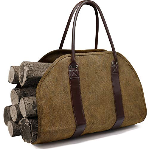 Jolitac Log Carrier Fire Wood Carrier Firewood Log Holder Waxed Canvas Tote Bag with Leather Handles Fireplace Stove Accessories Indoor Outdoor