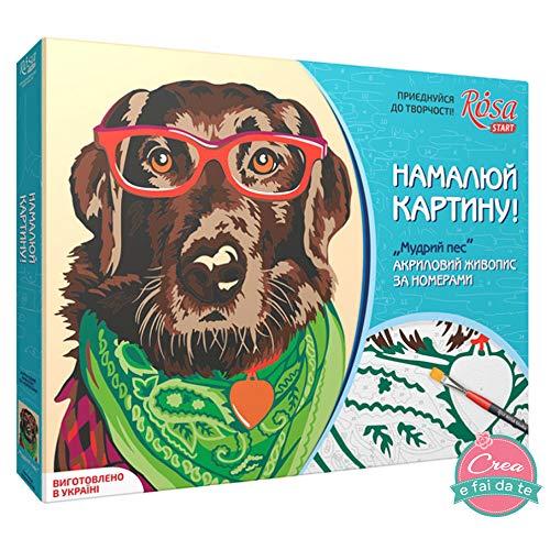 Pink Start Set om te knutselen op canvas, acrylverf - schilderijen met de cijfers - Wise Dog - hond - afmetingen 35 x 45 cm