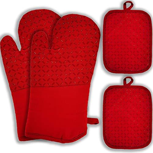 Raiatea Ofenhandschuhe Topflappen Topfhandschuhe Küche Backhandschuhe mit Silikon Kochhandschuhe Anti-Rutsch Geeignet für Kochen Backen Grillen, 260°C Hitzebeständige 4er Set, Rot