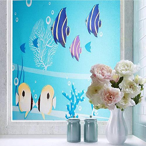 Shackcom Fensterfolie Selbsthaftend Blickdicht Sichtschutz Sichtschutzfolie 90x200CM Statisch Haftend Anti-UV Dekorfolie für Bad Küche Büro Zuhause-F02SP