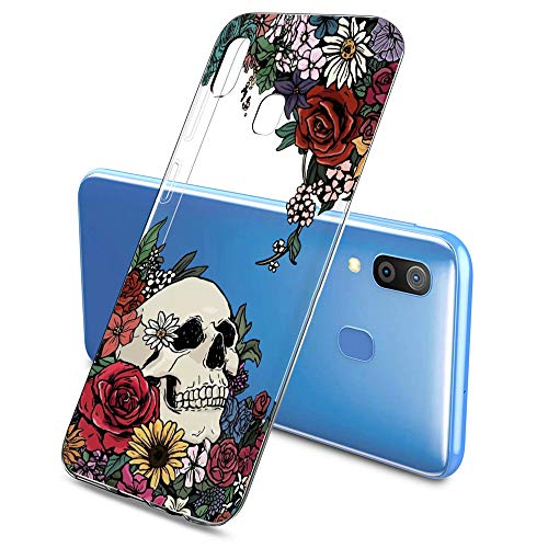 Oihxse Clair Crystal Soft Silicone Compatible pour Samsung Galaxy S6 Edge Plus Coque Transparente TPU Crâne Rose Motif Design Housse Ultra Mince Protection Antichoc Etui(E5)