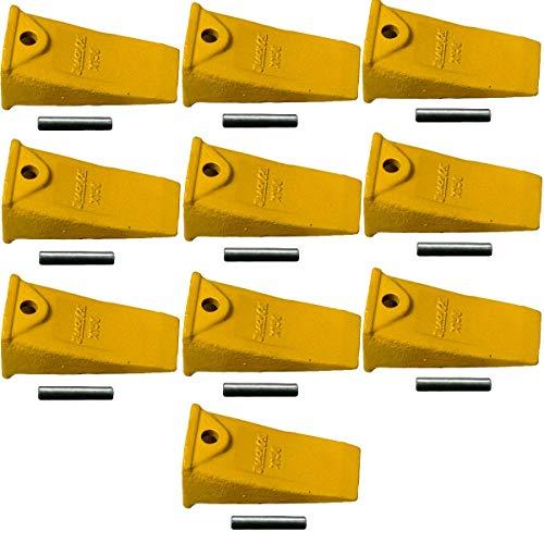 X156 Hensley Style Backhoe   Skid Steer   Mini Excavator Standard Bucket Teeth w/Roll Pins (Set of 10)
