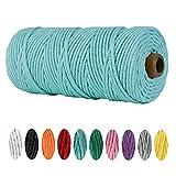 NC - Filo di cotone macramè, 3 mm x 100 m, 100% cotone, corda di cotone, corda di cotone, per lavori a maglia, arazzo da appendere alla parete, fioriera per piante, fai da te (azzurro)