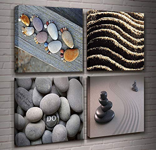 Zen Stone Wall Art 4 Panels Burning Candles SPA Still Life Canvas Print for Home Wall Decoration Bamboo Stretched and Framed Artwork for Spa Salon Bedroom Bathroom Wall Decor Ready to Hang