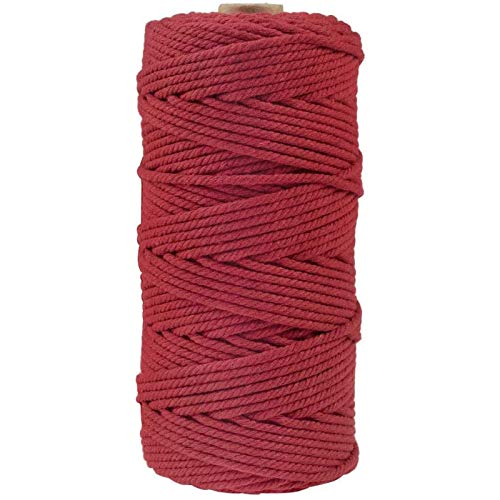Mingbai Macrame Cord, 3mm x 109 Yards (About 100m) Cotton Rope, 100% Natural Cotton Macrame Rope for Wall Hanging, Plant Hangers, DIY Crafts Knitting, Christmas Wedding Decorative Projects (Wine)