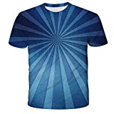 Qier Camisetas Hombre Camiseta Holgada Informal De Manga Corta con Gráfico 3D, Diseño De Viga Azul, Azul, S