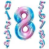 Siumir Globo de Número Globo Digital Gigante 40 Pulgadas Arcoiris Gradient Papel De Aluminio Globo Decoración de Fiestas de Cumpleaños (Número 8)