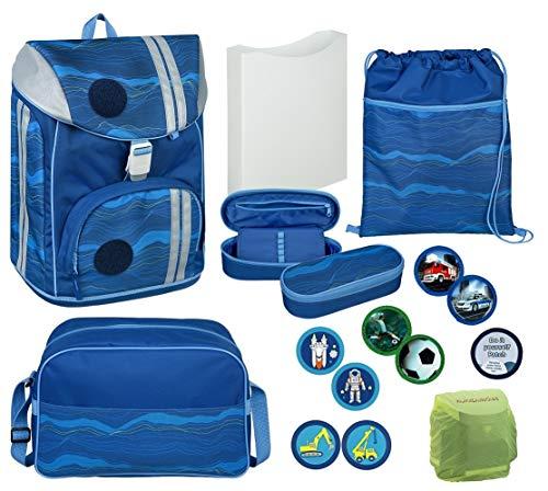 Scooli Schul-Rucksack Schulranzen-Set | leicht und ergonomisch | für Grund-Schule 1. - 6. Klasse | Blau mit Motiv Klettis zum Austauschen