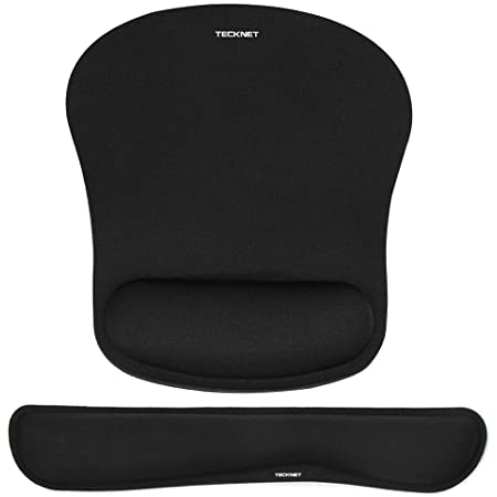 TeckNet Keyboard Wrist Rest and Mouse Pad with Wrist Support, Memory Foam Set for Computer/Laptop/Mac, Lightweight for Easy Typing & Pain Relief Ergonomic Mousepad (Black)