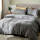 """SONORO KATE Bed Sheet Set Bamboo Sheets Deep Pockets 16"""" Eco Friendly Wrinkle Free Sheets Hotel Bedding Machine Washable Silky Soft (Dark Grey, Queen)"""