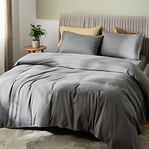 "SONORO KATE Bed Sheet Set Bamboo Sheets Deep Pockets 16"" Eco Friendly Wrinkle Free Sheets Hypoallergenic Hotel Bedding Machine Washable Silky Soft (Dark Grey, Queen)"