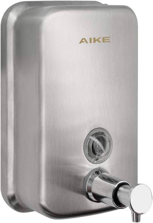 AIKE AK1001 Dispensador de jabón Bomba Manual de Montaje en Pared Acero Inoxidable Cepillado 1000 ml