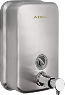 AIKE AK1001 Manual Pump Soap Dispenser Adhesive Wall Mount Stainless Steel Lotion Dispenser,Brushed,17oz/500ml